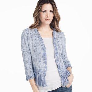 White House Black Market Blue fringe sweater